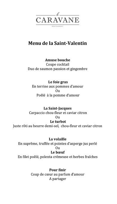 menu saint valentin 2018 marrakech le caravane